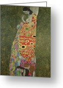 Bowing Greeting Cards - Hope II Greeting Card by Gustav Klimt