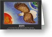 Eagle Pastels Greeting Cards - Hope Greeting Card by Jalal Gilani