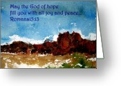 Bible Mixed Media Greeting Cards - Hope joy and peace Greeting Card by Anne Duke