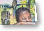 Baby Girl Greeting Cards - Hope Greeting Card by Mo T