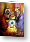 Christ Child Greeting Cards - Hope of the World Greeting Card by Deborah Smith