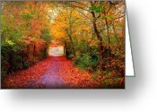 Red Autumn Trees Greeting Cards - Hope Greeting Card by Photodream Art
