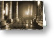 Street Lamps Greeting Cards - Hope Shinning Through Greeting Card by Mike McGlothlen