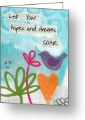 Cheerful Greeting Cards - Hopes and Dreams Soar Greeting Card by Linda Woods