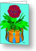 Sell Greeting Cards - Hopi Pot Flower Greeting Card by Buddy Paul