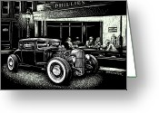 Hot Rod Drawings Greeting Cards - Hopper Stopped Here Greeting Card by Bomonster