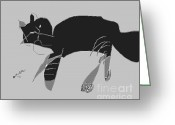 Gray-scale Greeting Cards - Horatio Tobias Greyscale Greeting Card by Anita Dale Livaditis