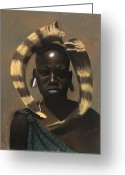L Cooper Greeting Cards - Horn Seller Greeting Card by L Cooper