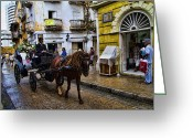 Heritage Greeting Cards - Horse and Buggy in old Cartagena Colombia Greeting Card by David Smith