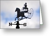 Weather Vane Greeting Cards - Horse and Buggy Weather Vane Greeting Card by Bill Cannon