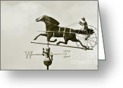 Weathervane Greeting Cards - Horse And Buggy Weathervane In Sepia Greeting Card by Ben and Raisa Gertsberg
