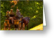 Landscape Photograpy Greeting Cards - Horse and Carriage Greeting Card by Bedford Shore Photography