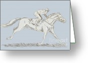 Mane Greeting Cards - Horse and jockey Greeting Card by Aloysius Patrimonio