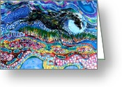 Life Tapestries - Textiles Greeting Cards - Horse Born of Moon Energy Greeting Card by Carol Law Conklin