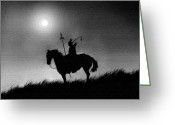 Native Digital Art Greeting Cards - Horse Brave Greeting Card by Robert Foster