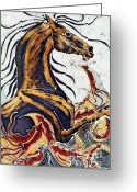 Motion Tapestries - Textiles Greeting Cards - Horse Dances in Sea with Squid Greeting Card by Carol Law Conklin