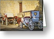 Cart Greeting Cards - Horse drawn carriages in Guadalajara Greeting Card by Elena Elisseeva