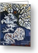 Rising From Earth Greeting Cards - Horse Dreaming Below Trees Greeting Card by Carol  Law Conklin