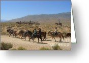 Riders Greeting Cards - Horse Drive from June Lake to Bishop California Greeting Card by Christine Till
