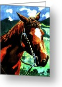 Equine Watercolor Portrait Greeting Cards - Horse Greeting Card by Farah Faizal