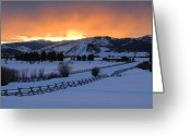 Wyoming Greeting Cards - Horse Farm At Sunset Greeting Card by Stephen  Vecchiotti