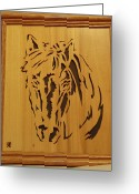 Scroll Saw Sculpture Greeting Cards - Horse Head Greeting Card by Russell Ellingsworth