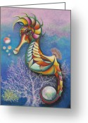 Whimsical Pastels Greeting Cards - Horse of a Different Color Greeting Card by Tracey Levine