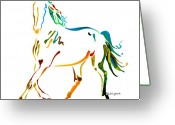 Running Horse Painting Greeting Cards - Horse of Many Colors - 2 Greeting Card by Jo Lynch