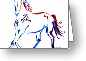 Running Horse Painting Greeting Cards - Horse of many Colors Greeting Card by Jo Lynch