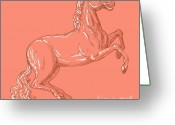 Mane Greeting Cards - Horse Prancing Greeting Card by Aloysius Patrimonio