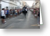 Pedro Cardona Greeting Cards - Horse Race 1 Greeting Card by Pedro Cardona
