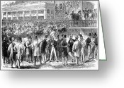 Betting Greeting Cards - Horse Racing, 1866 Greeting Card by Granger