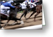 Riders Greeting Cards - Horse Racing Greeting Card by Johnny Greig