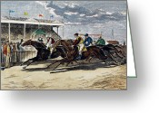 Horserace Greeting Cards - Horse Racing, Ny, 1879 Greeting Card by Granger