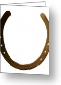 Weathered Objects Greeting Cards - Horse shoe Greeting Card by Tony Cordoza
