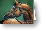 Horse Portrait Pastels Greeting Cards - Horse Soft Pastel Greeting Card by Angel  Tarantella