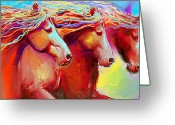 Contemporary Horse Digital Art Greeting Cards - Horse Stampede painting Greeting Card by Svetlana Novikova