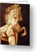 Wildlife Sculpture Greeting Cards - Horse Statue Greeting Card by Nancy Bradley