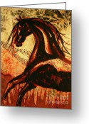 Black Tapestries - Textiles Greeting Cards - Horse Through Web of Fire Greeting Card by Carol Law Conklin