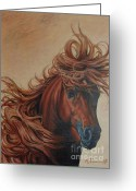 Hyperrealistic Greeting Cards - Horse with a flowing mane Greeting Card by Alexander  Titorenkov