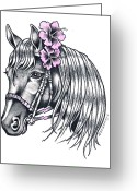 Hibiscus Tropical Drawings Greeting Cards - Horse With Hibiscus Greeting Card by Lori Nadaskay