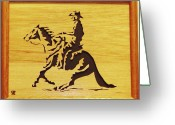 Scroll Saw Sculpture Greeting Cards - Horse with Rider Greeting Card by Russell Ellingsworth