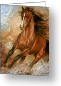 Running Horse Painting Greeting Cards - Horse1 Greeting Card by Arthur Braginsky