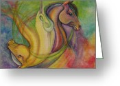 Equine Mixed Media Greeting Cards - Horsehead Jojo Greeting Card by Caroline Czelatko