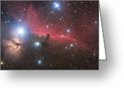 Horsehead Greeting Cards - Horsehead Nebula And Flame Nebula Greeting Card by Philip Hart