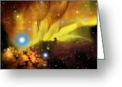 Flares Greeting Cards - Horsehead Nebula Greeting Card by Corey Ford