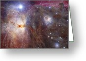 Horsehead Greeting Cards - Horsehead Nebula Region In Infrared Greeting Card by Robert Gendler