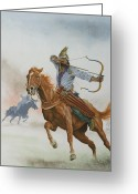 Quiver Greeting Cards - Horsemen from the Steppes Greeting Card by English School