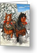 Plowing Greeting Cards - Horseplay Greeting Card by Dean Manemann