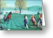 Playing Golf Greeting Cards - HORSEPLAYINGAROUND H Edition Greeting Card by Don Evans